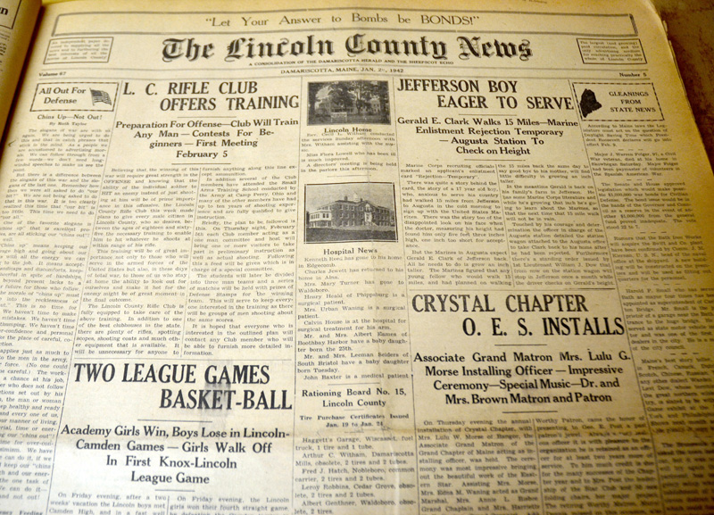 The front page of the Jan. 29, 1942 edition of The Lincoln County News. The newspaper and Skidompha Library are partnering in an effort to digitize the newspaper's full archive and make it available to the public. (Maia Zewert photo)