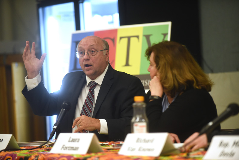 State Sen. Dana Dow speaks while challenger Laura Fortman looks on during a candidates forum at Great Salt Bay Community School in Damariscotta, Thursday, Oct. 18. (Jessica Picard photo)