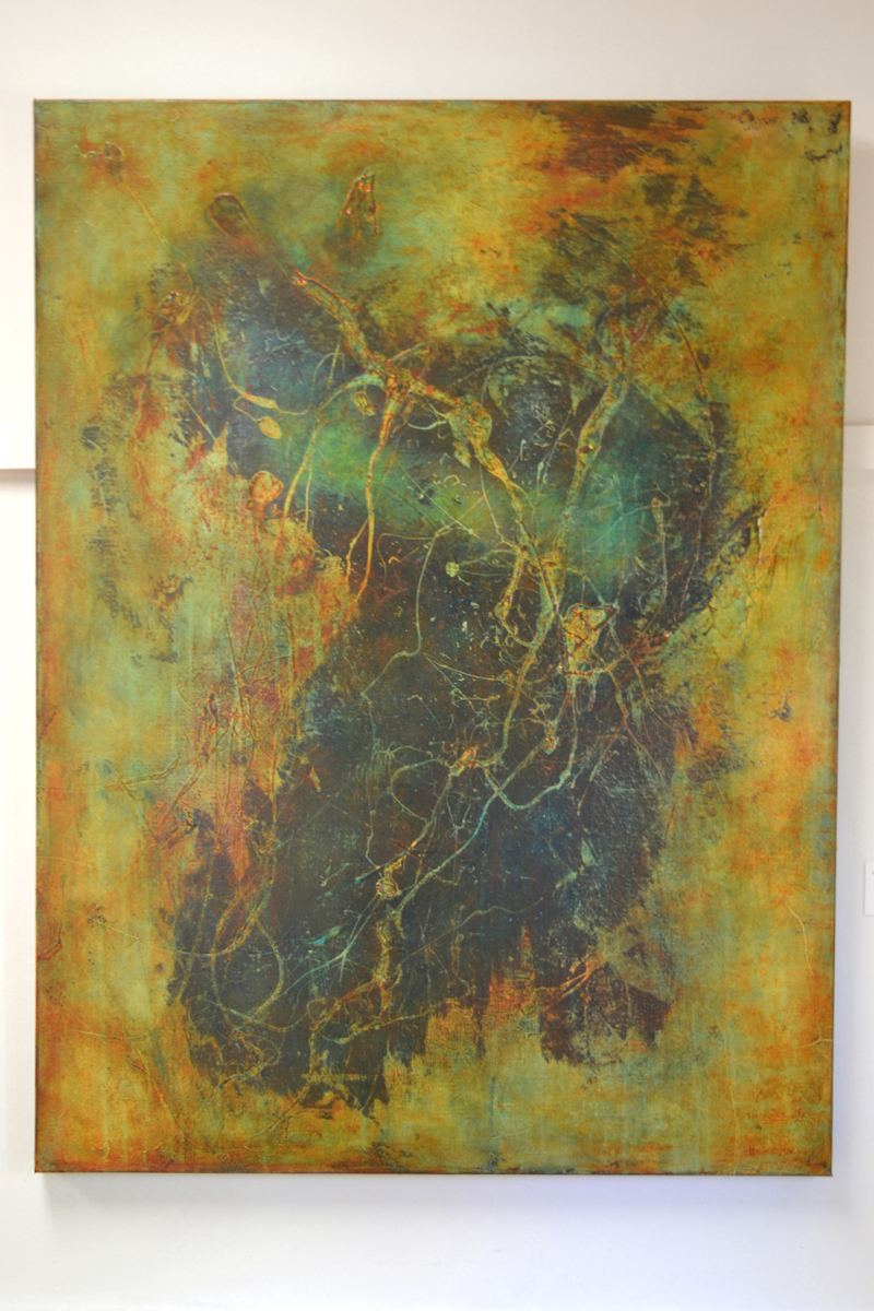 """Waldoboro artist Valerie Greene's """"hashtagmetoo"""" is one of two acrylic paintings by Greene in the current """"Abstraction"""" show at River Arts in Damariscotta. (Christine LaPado-Breglia photo)"""