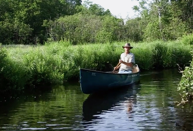 "Buck O'Herin at the headwaters of the Sheepscot River, from Charles Stuart's film ""Sheepscot River Stories."" (Image courtesy Charles Stuart)"