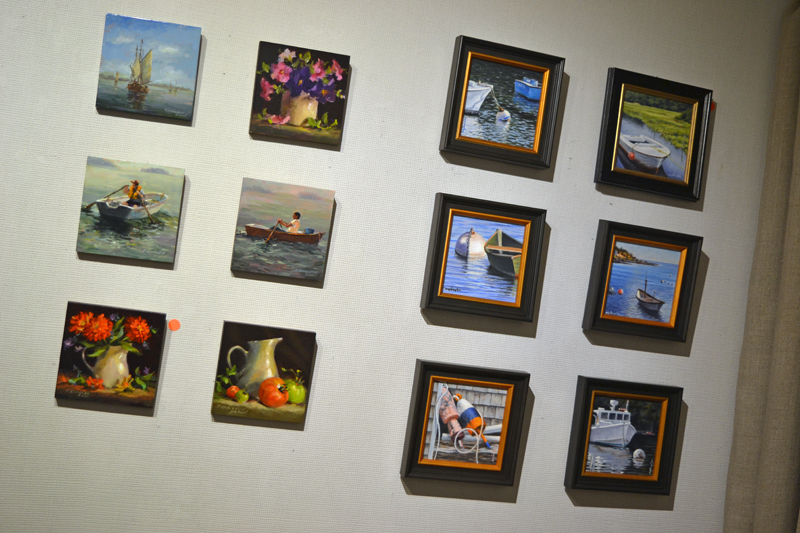 "Six of Sandra Leinonen Dunn's 6-by-6-inch paintings (left) hang beside six of Will Kefauver's 6-by-6-inch pieces in the new ""6 x 6"" exhibit at Kefauver Studio & Gallery. (Christine LaPado-Breglia photo)"