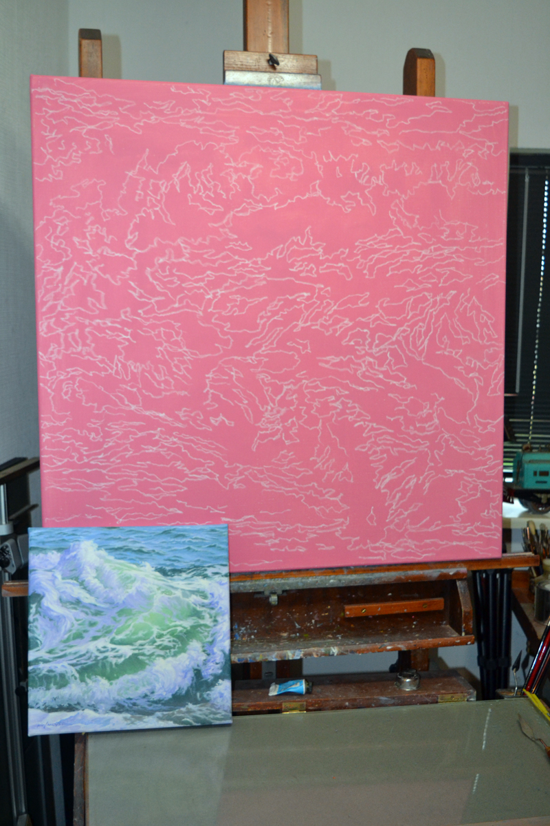 The pink-ground canvas with chalk lines in Will Kefauver's studio that will become a 30-by-30-inch painting based on a 6-by-6-inch painting of a wave (left foreground). (Christine LaPado-Breglia photo)