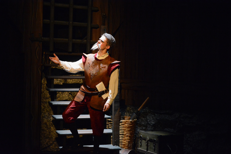 "Lincoln Academy student Jonah Daiute stars as Miguel de Cervantes/Don Quixote in the Heartwood Regional Theater Company/LA production of ""Man of La Mancha,"" which runs through Nov. 4 at the Parker B. Poe Theater in Newcastle. (Photo courtesy Jenny Mayher)"