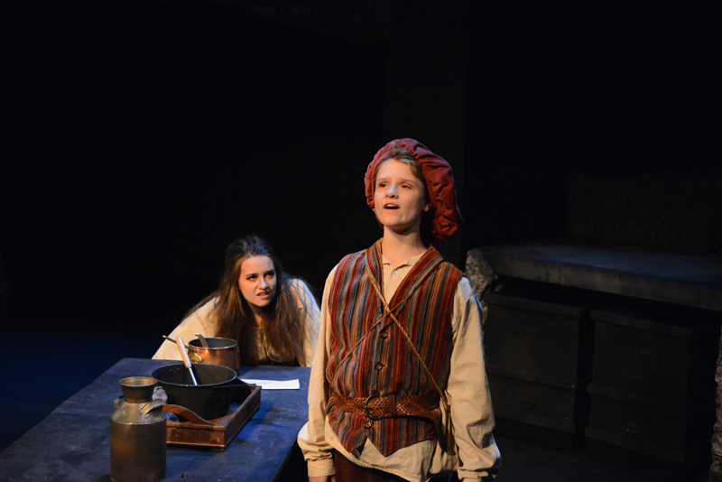 "May Halm plays Aldonza and Andrew Lyndaker plays Sancho Panza in ""Man of La Mancha,"" currently being staged in the Parker B. Poe Theater at Lincoln Academy. (Photo courtesy Jenny Mayher)"