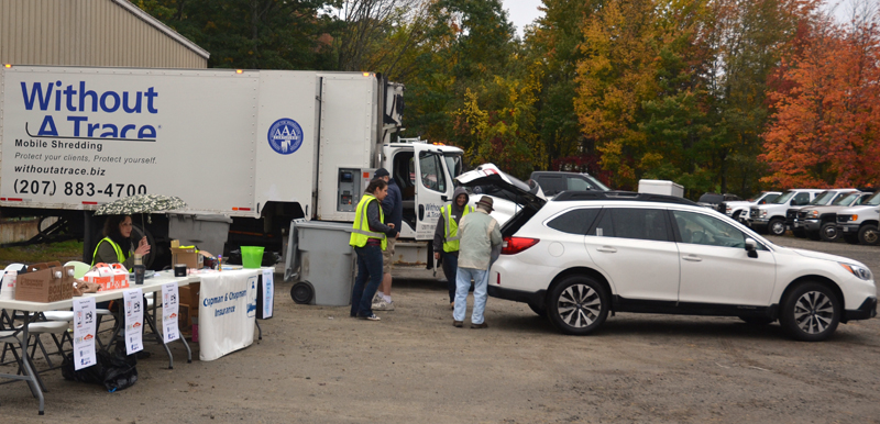 The Damariscotta Region Chamber of Commerce's Fall Shred Event at Lincoln County Publishing Co. on Saturday, Oct. 13 brought in more than $1,000 as well as school supply donations for area schools. (Maia Zewert photo)