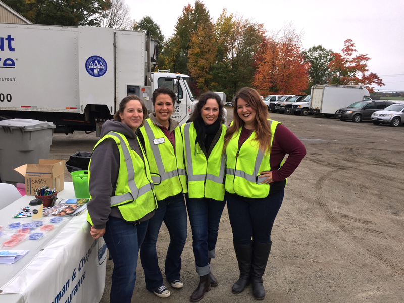 From left: Damariscotta Region Chamber of Commerce Board members Terri Herald, Amanda Reibel, Christine Henson, and Maia Zewert at the Fall Shred Event at Lincoln County Publishing Co. on Saturday, Oct. 13.