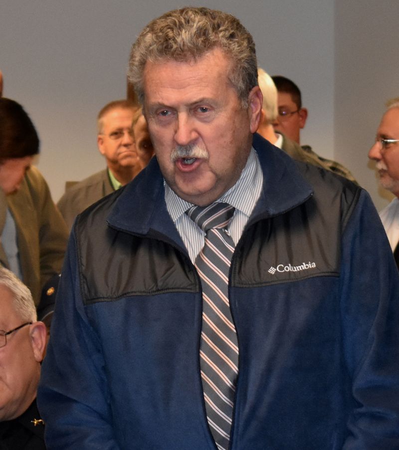 Former Waldoboro Police Chief Leroy Jones speaks in support of the new police chief, John Lash, during Lash's swearing-in ceremony. (Alexander Violo photo)