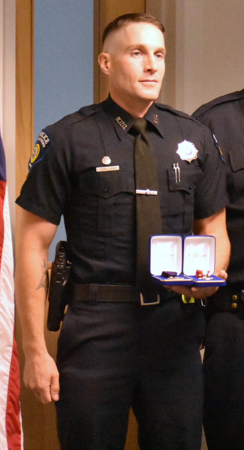 Waldoboro Police Officer John Lash poses for a photo during a medal ceremony July 24. Lash will start a new job as the town's police chief Nov. 1. (Alexander Violo photo, LCN file)