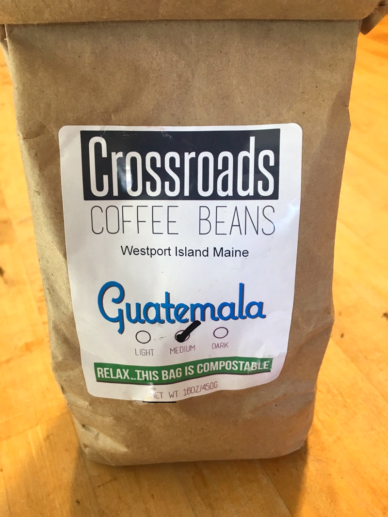 """Relax ... this bag is compostable,"" reads the label on a bag of Crossroads Coffee Beans. (Suzi Thayer photo)"