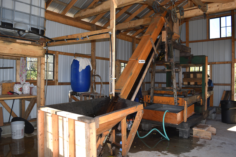 The Miller Family's cider press. The family saw an ad for the press in Uncle Henry's and bought it from someone in Benton. (Jessica Clifford photo)