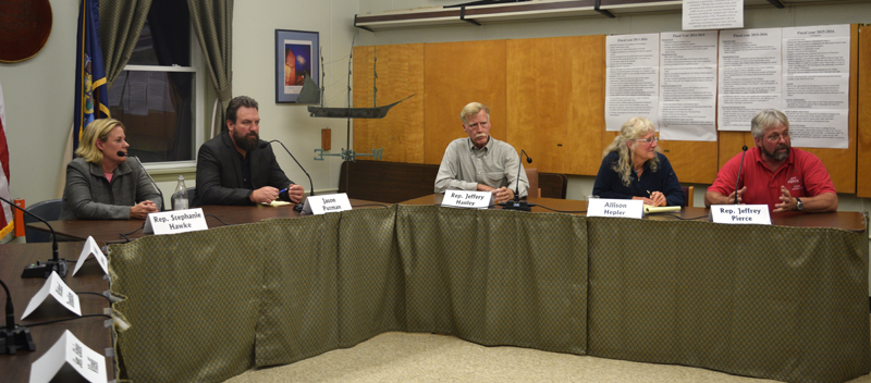From left: Rep. Stephanie Hawke, Jason Putnam, Rep. Jeffery Hanley, Allison Hepler, and Rep. Jeffrey Pierce attend a candidates forum at the Wiscasset municipal building Thursday, Oct. 4. (Jessica Clifford photo)