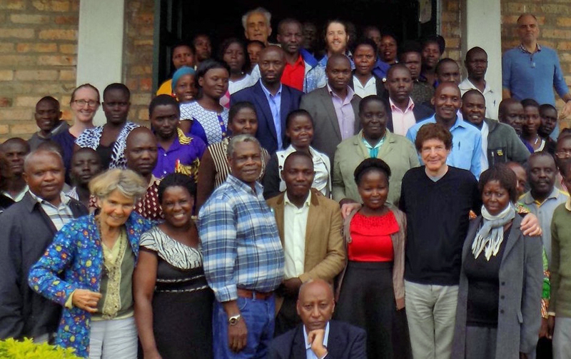 """Uganda Project"" flmmaker Robert Fritz (front row, third from right) with Mwalimu Musheshe and students at the Uganda Regional Development and Training school in Uganda."