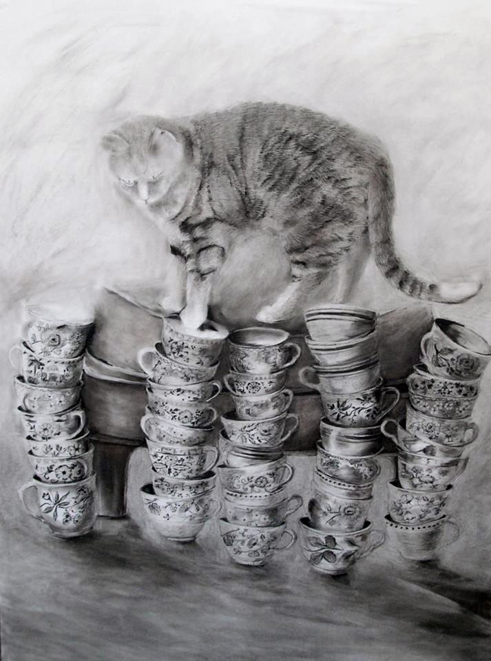 """Limited Options,"" by Pam Cabanas, compressed charcoal on vellum."