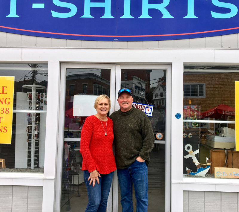 Dianne and Mark Gimbel at the location of their new business, the Windjammer Maritime Heritage Store. The museum and retail shop will open on Memorial Day weekend 2019. (Suzi Thayer photo)