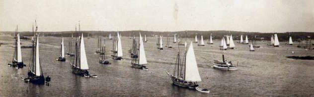 The mackerel fleet departs Boothbay Harbor after a storm circa 1890. The photo illustrates the importance of schooners in the region's history, according to Windjammer Emporium owner Mark Gimbel. (Photo courtesy Boothbay Region Historical Society)