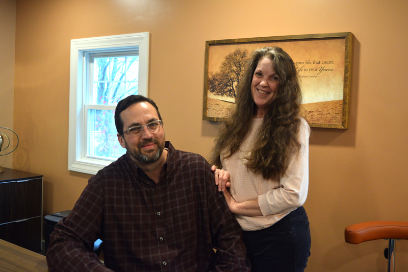 Chiropractor Dr. Thomas White and Office Manager Annee White run Spine By Design. The practice recently moved to a permanent home in Damariscotta. (Jessica Clifford photo)