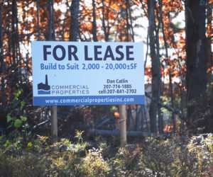 A sign near 435 Main St. in Damariscotta advertises commercial property Thursday, Nov. 8. (Jessica Picard photo)