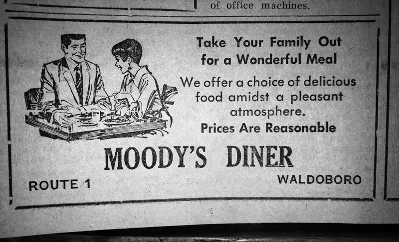 An advertisement for Moody's Diner in the Nov. 7, 1968 edition of The Lincoln County News.