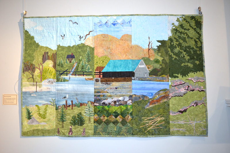 """Damariscotta Mills,"" a sectioned quilt made by Kathy Fagan, Diana Williams, Joanne Esancy, Katie Snow, and Diane Baldwin, based on a Paula Roberts photo. (Christine LaPado-Breglia photo)"