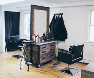 Hair-cutting stations at B&Co. Hair Salon, a new salon at 63 Main St. in Newcastle. (Photo courtesy Alyssa Shea)