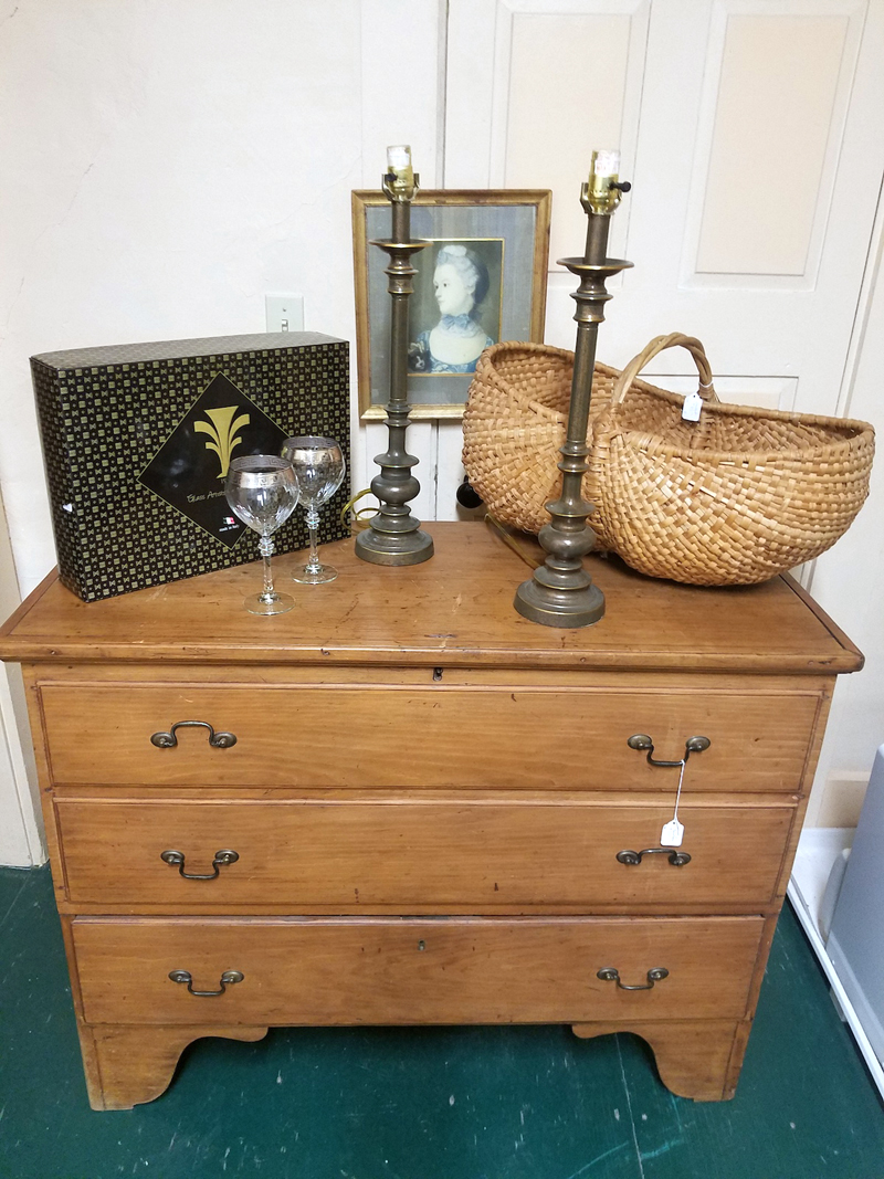 A variety of antiques, including a dresser and a basket, as well as Italian wine glasses and lamps, are among the items to be featured in a silent auction on Saturday, Nov. 10 at the VFW Hall, Waldoboro. The auction is part of a benefit supper for Broad Bay Congregational UCC's capital campaign.