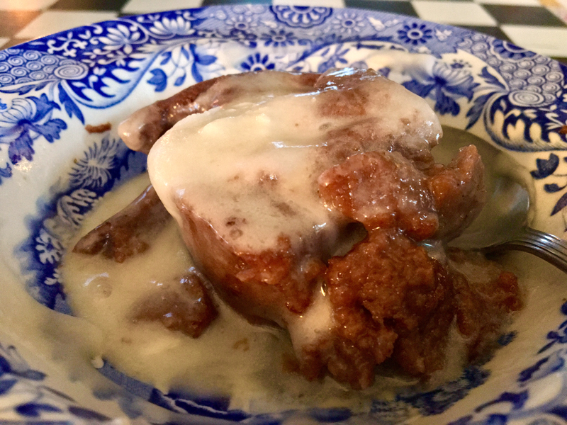 Warm chocolate bread pudding with hard sauce melting over it is totally ridiculous. (Suzi Thayer photo)