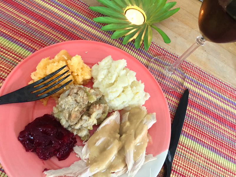 A Thanksgiving dinner for one. No Debbie Downers here. (Suzi Thayer photo)