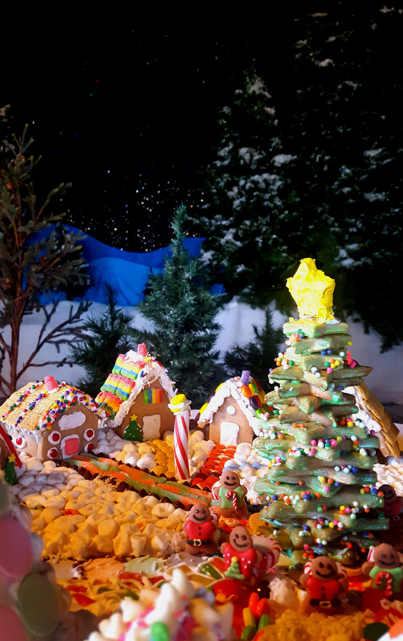 Colorful gingerbread houses brighten the holiday season.