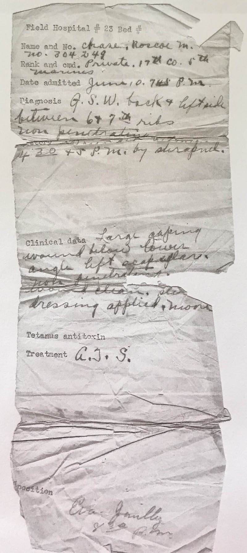 A military record contains notes about Roscoe Chase's gunshot wound at Belleau Wood in World War I. (Photo courtesy Mary Ann Chase Vinton)