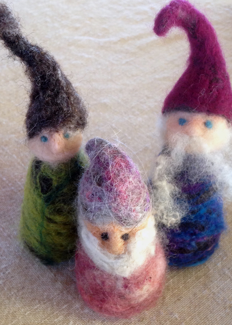 Felted Yule gnomes handcrafted by Kristen Bishop. (Photo courtesy Kelly Payson-Roopchand)
