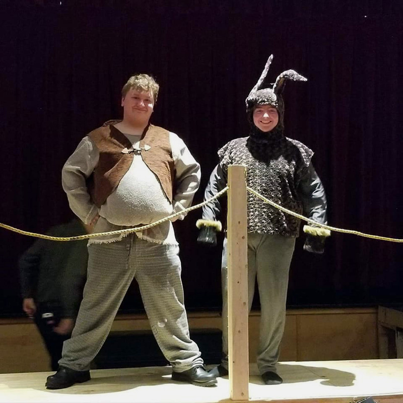 "Two characters in the upcoming staging of ""Shrek the Musical"" at Medomak Valley High School."