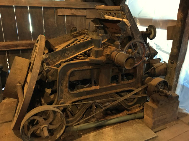 The planer still in place at the Pemaquid Mill.