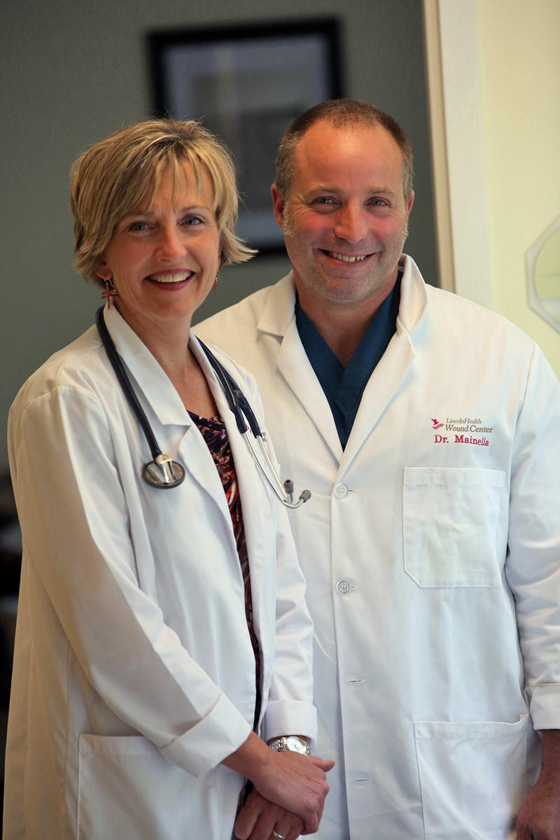 Advanced-practice registered nurse Bonnie Rademacher-Flis and LincolnHealth Wound Center Medical Director Mark Mainella.