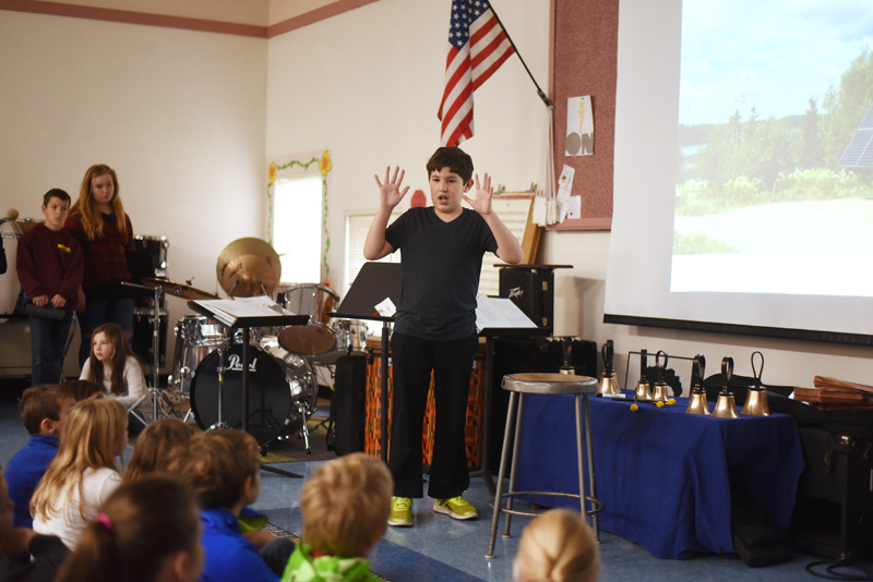 Bristol Consolidated School sixth-grader Logan Arzate speaks about solar energy at the school Thursday, Nov. 29. (Jessica Picard)