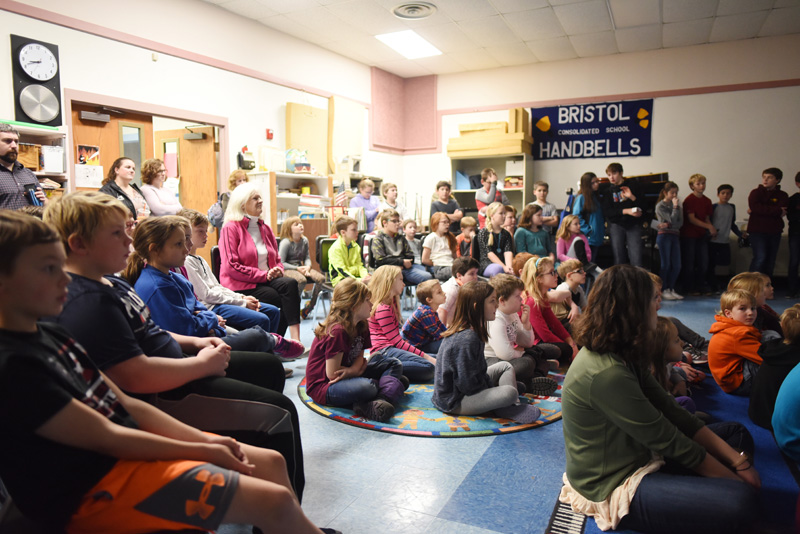 Bristol Consolidated School students attend a presentation on solar energy the morning of Thursday, Nov. 29. (Jessica Picard photo)