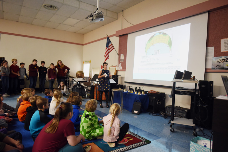 Bristol Consolidated School sixth-grader Julia Rose talks about solar energy during a presentation to younger students Thursday, Nov. 29. (Jessica Picard photo)