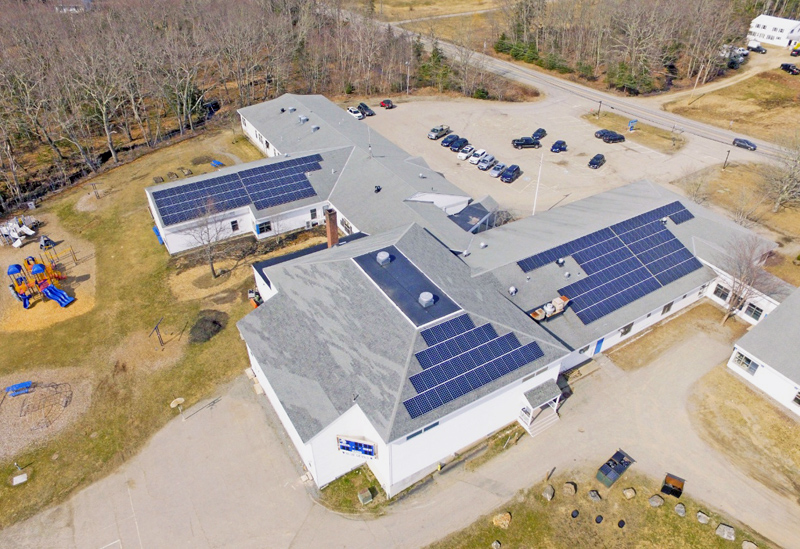 ReVision Energy installed solar panels on the roof of Bristol Consolidated School earlier this year. (Photo courtesy ReVision Energy)