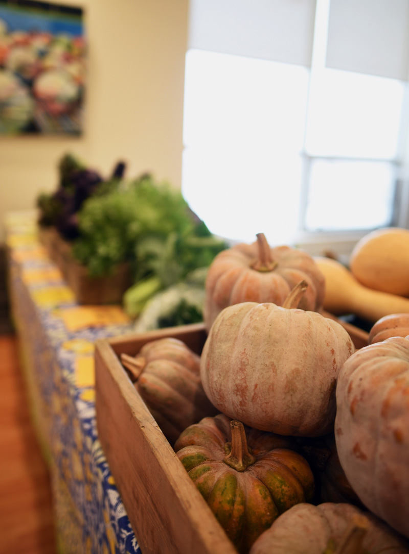 Produce from Morning Dew Farm on display at the farmers market at the CLC YMCA on Nov. 16. (Jessica Picard photo)