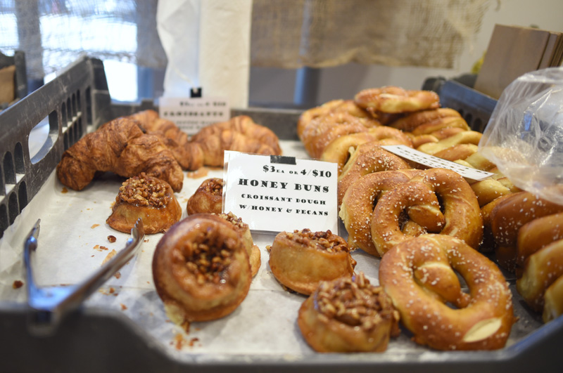 Goods for sale from Hootenanny Bread at the farmers market at the CLC YMCA, Friday, Nov. 30. (Jessica Picard photo)