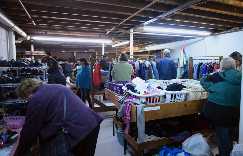 Shoppers at People to People, in the basement of the Damariscotta Baptist Church, Monday, Dec. 3. (Jessica Picard photo)