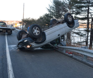 Black Ice Causes Rollover on Route 1 in Edgecomb