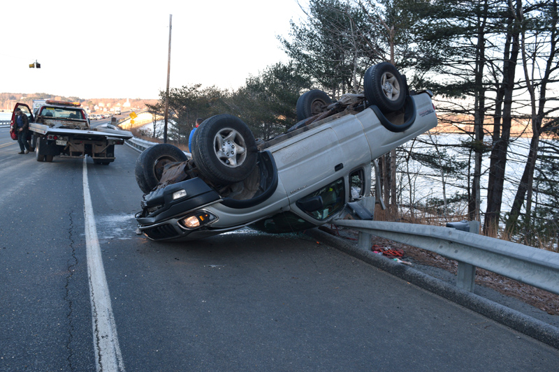 A 2004 Toyota Tacoma at rest on a guardrail on Route 1 in Edgecomb the morning of Monday, Dec. 10. The driver was not hurt, according to authorities. (Jessica Clifford photo)