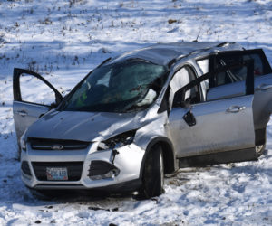 The driver of a 2014 Ford Escape SUV was injured in a single-vehicle rollover on East Pond Road in Nobleboro the morning of Tuesday, Dec. 18. (Alexander Violo photo)