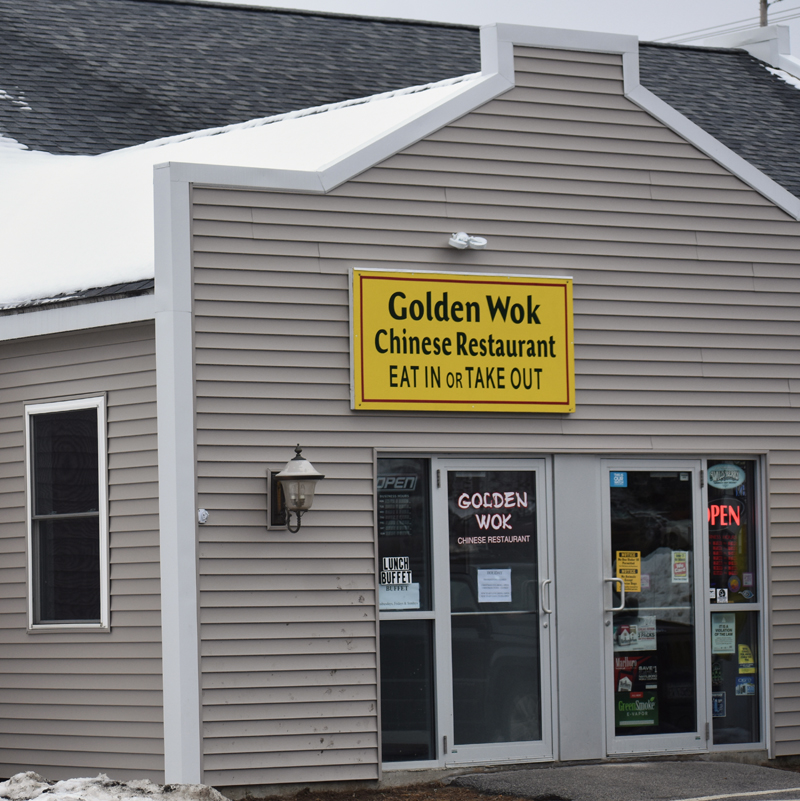The entrance to the new location of the Golden Wok, a Chinese restaurant, at 25 Washington Road in Waldoboro. The restaurant was formerly in downtown Wiscasset. (Alexander Violo photo)