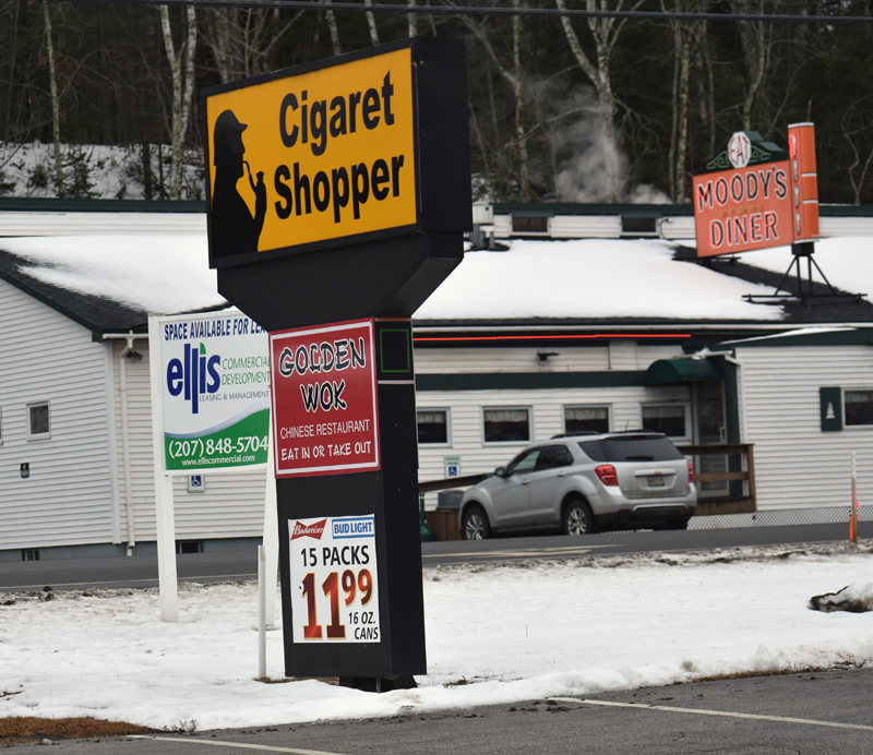 The sign for the new location of Golden Wok in Waldoboro. The Chinese restaurant is across Route 1 from Moody's Diner and in the same building as Cigaret Shopper. (Alexander Violo photo)