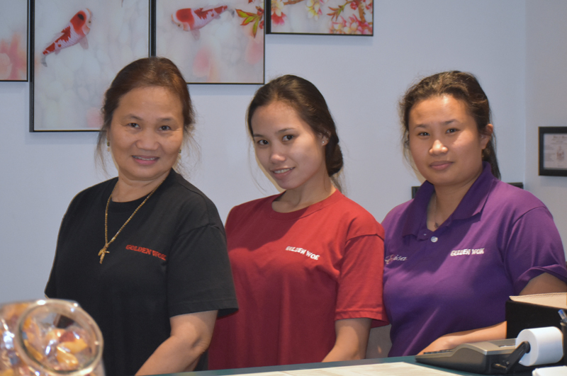 From left: Ninia, Joy, and Eloisa Juntura, of Golden Wok, Waldoboro's new Chinese restaurant. (Alexander Violo photo)