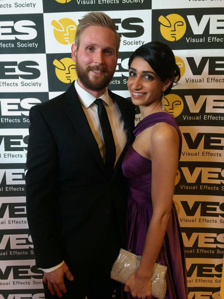 """Austin Bonang and his wife, Sabrina Bonang, attend the Visual Effects Society Awards in 2015. After achieving success in the field of special effects, the Wiscasset High School graduate will soon make his directorial debut with a short film, """"Pathosis."""" (Photo courtesy Allyson Klein)"""
