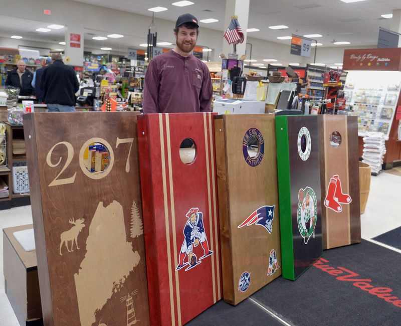 Sumner Averill, of Laid Back Lumber, has been making cornhole games for three years in Wiscasset. He sells them at the family business, Ames Supply in Wiscasset. (Paula Roberts photo)