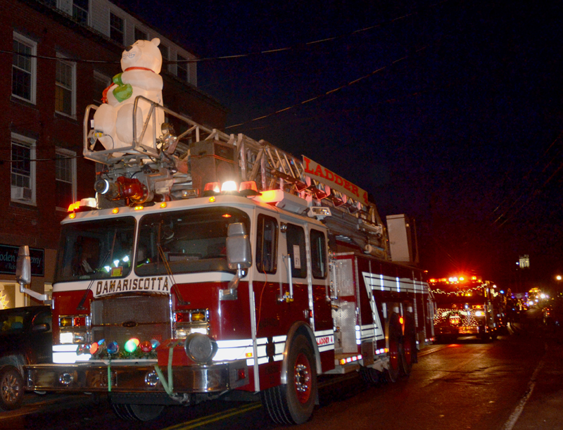 The Damariscotta Fire Department was voted the best fire truck for its entry in the Parade of Lights.