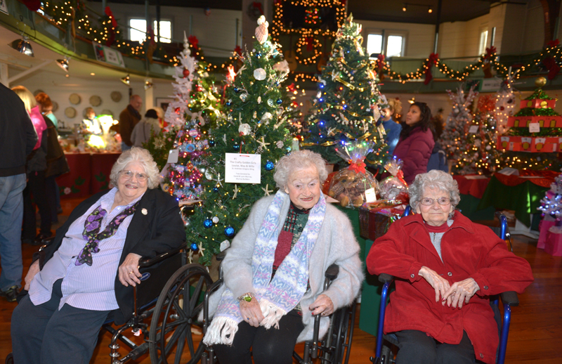 """The St. Andrews Village """"Golden Girls"""" sit in front of the tree they decorated for the Boothbay Region Garden Club's Festival of Trees at the Boothbay Harbor Opera House. (Paula Roberts photo)"""
